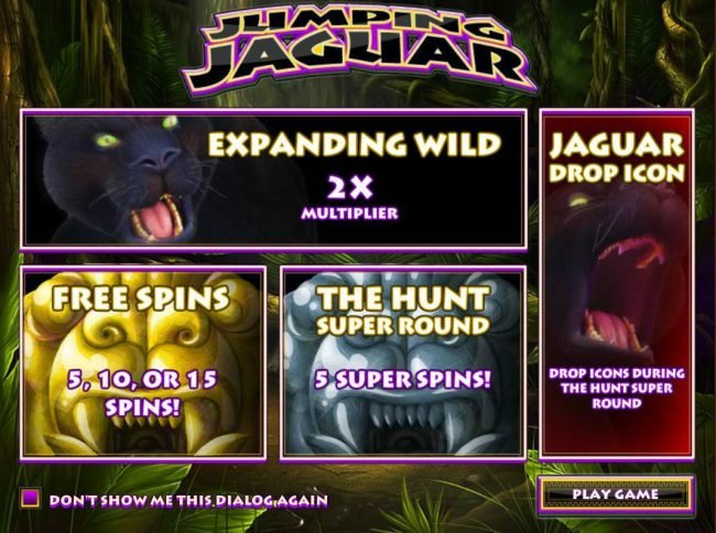24 Vip featuring the Video Slots Jumping Jaguar with a maximum payout of $5,000