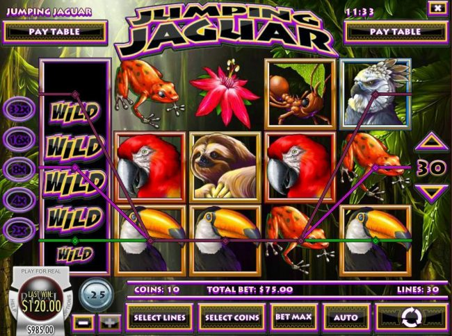 Golden Lion featuring the Video Slots Jumping Jaguar with a maximum payout of $5,000