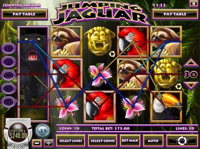 Vegas Fortune featuring the Video Slots Jumping Jaguar with a maximum payout of $5,000