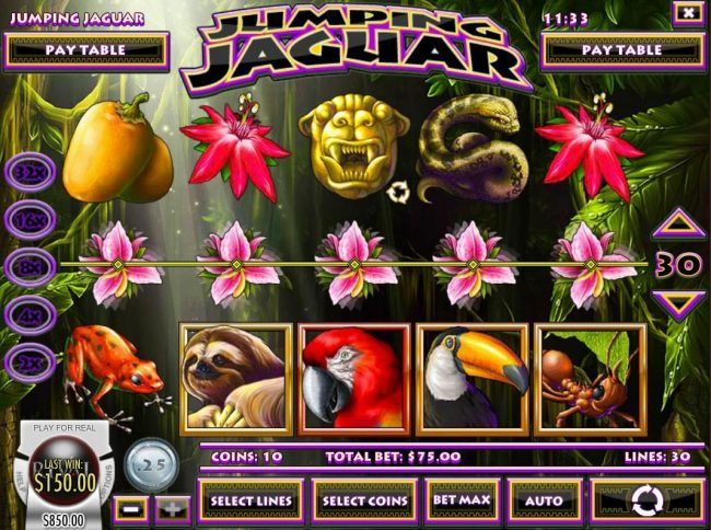 Euro Bets featuring the Video Slots Jumping Jaguar with a maximum payout of $5,000