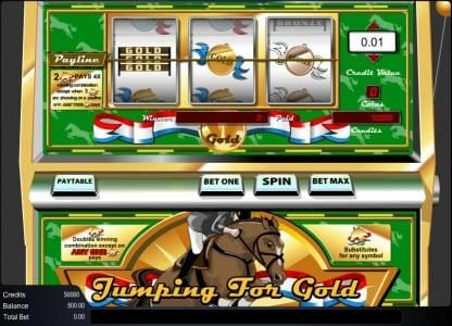 Mega Casino featuring the Video Slots Jumping for Gold with a maximum payout of $1,000