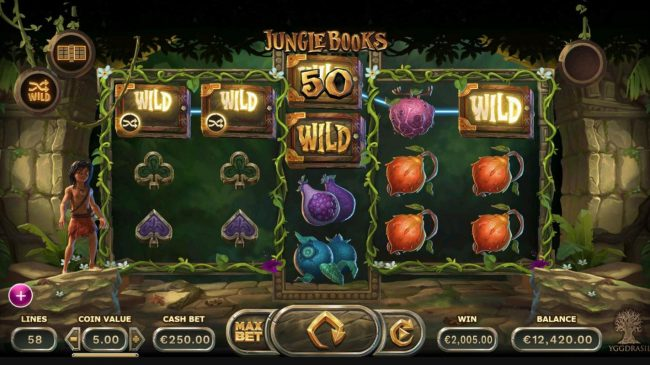 Play slots at Go Wild: Go Wild featuring the Video Slots Jungle Books with a maximum payout of $1,250,000