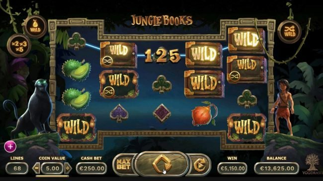 Boaboa featuring the Video Slots Jungle Books with a maximum payout of $1,250,000