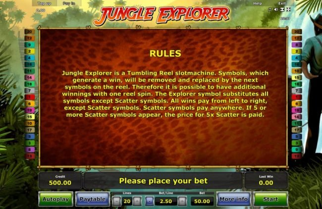 Jungle Explorer :: General Game Rules - Jungle Explorer is a tumboling reel slotmachine. Symbols, which generate a win, will be removed and replaced by the next symbols on the reel.