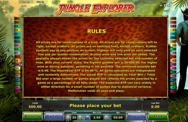 Jungle Explorer :: General Game Rules - The theoretical average return to player (RTP) is 94.00%.