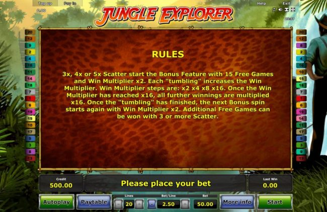 Jungle Explorer :: Three or more scatter symbols start the bonus feature with 15 free games and a win multiplier x2.