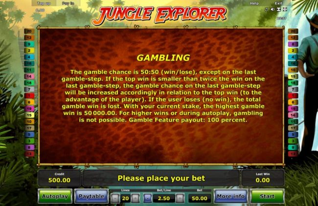 Jungle Explorer :: Gambling Rules - The gamble chance is 50:50 (win/lose), except on the last gamble-step.