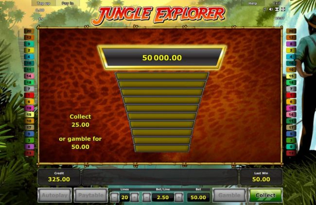Jungle Explorer :: Gamble Feature Game Board - Available after every winning spin.