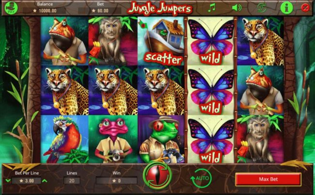 Split Aces featuring the Video Slots Jungle Jumpers with a maximum payout of $75,000