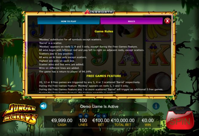 Boo Casino featuring the Video Slots Jungle Monkeys with a maximum payout of $1,000,000