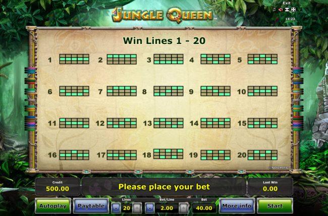 Jungle Queen :: Paylines 1-20