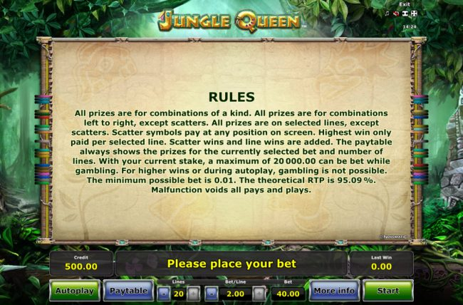 Play slots at Fun Casino: Fun Casino featuring the Video Slots Jungle Queen with a maximum payout of $20,000