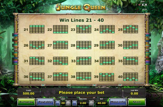 Jungle Queen :: Paylines 1-40