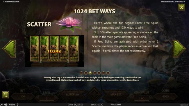 888 Casino featuring the Video Slots Jungle Spirit Call of the Wild with a maximum payout of $15,000