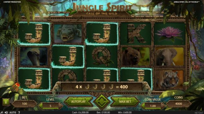 4 Stars featuring the Video Slots Jungle Spirit Call of the Wild with a maximum payout of $15,000