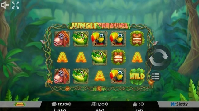 Play slots at ReelTastic: ReelTastic featuring the Video Slots Jungle Treasure with a maximum payout of $35,000