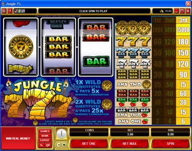 Challenge featuring the video-Slots Jungle 7's with a maximum payout of $225,000