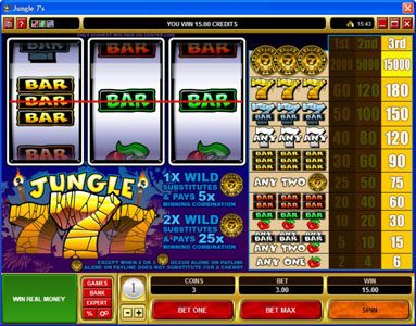 Grand Mondial featuring the video-Slots Jungle 7's with a maximum payout of $225,000