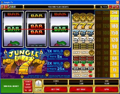 Wild Jackpots featuring the video-Slots Jungle 7's with a maximum payout of $225,000