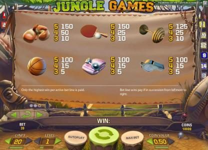 Lord of the Spins featuring the Video Slots Jungle Games with a maximum payout of $4,000