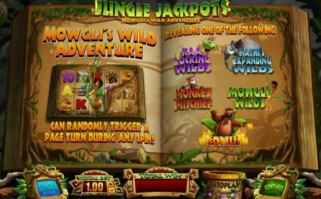 Play slots at Slottyway: Slottyway featuring the Video Slots Jungle Jackpots Mowgli's Wild Adventure with a maximum payout of $12,500