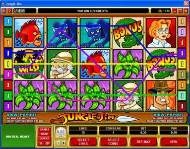 Play slots at Gaming Club: Gaming Club featuring the Video Slots Jungle Jim with a maximum payout of $20,000