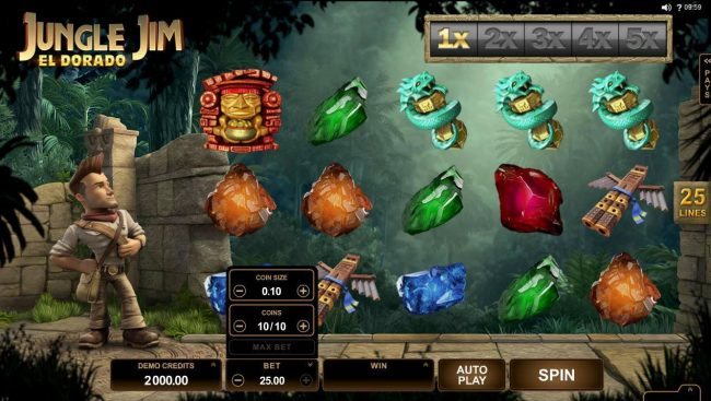 Casino Action featuring the Video Slots Jungle Jim El Dorado with a maximum payout of $92,000