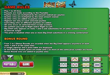 Lincoln featuring the Video Slots Jungle King with a maximum payout of $75,000