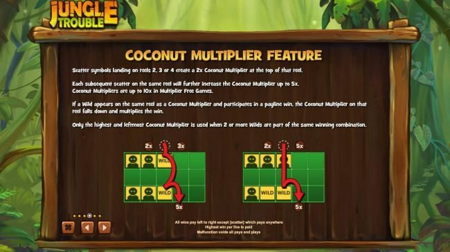 Coconut Multiplier Feature - Scatter symbols landing on reels 2, 3 or 4 create a 2x Coconut Muiltiplier at the top of the reel.