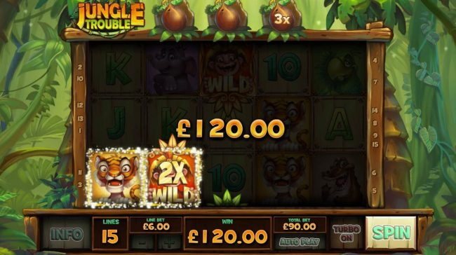 2x wild multiplier triggers a 120.00 payout