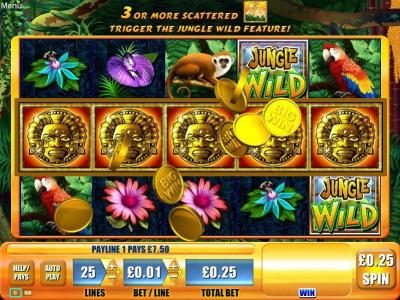 DruckGluck featuring the Video Slots Jungle Wild with a maximum payout of $7,500