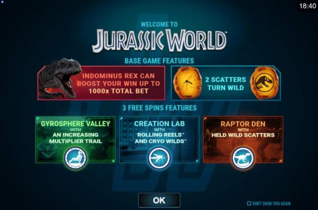 Play slots at Jackpot Knights: Jackpot Knights featuring the Video Slots Jurassic World with a maximum payout of $102.000