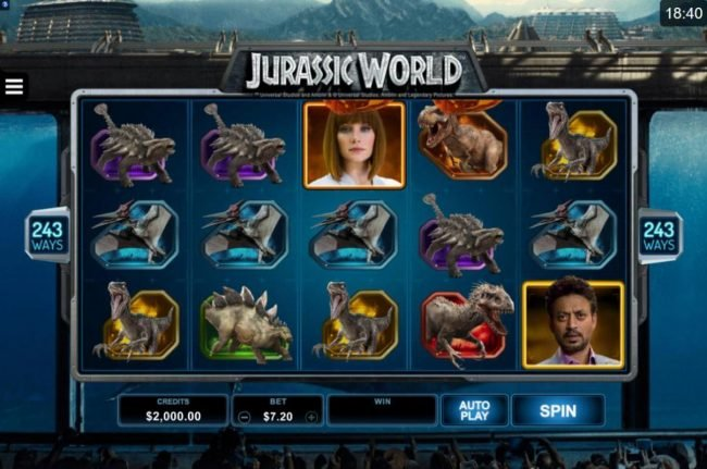 Jackpot Paradise featuring the Video Slots Jurassic World with a maximum payout of $102.000