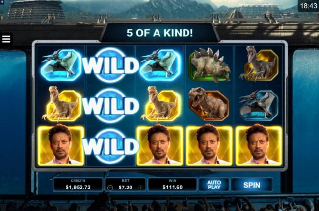 Cabaret Club featuring the Video Slots Jurassic World with a maximum payout of $102.000