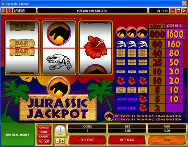 Zodiac featuring the Video Slots Jurassic Jackpot with a maximum payout of $160,000