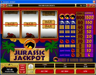 Spin Hill featuring the Video Slots Jurassic Jackpot with a maximum payout of $160,000
