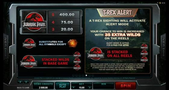 Casimba featuring the Video Slots Jurassic Park with a maximum payout of $475,000