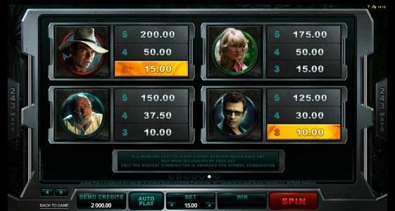 First Web featuring the Video Slots Jurassic Park with a maximum payout of $475,000