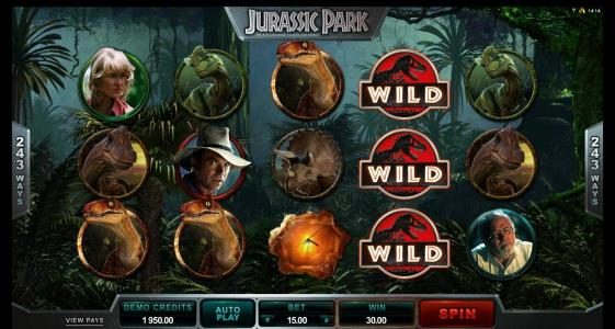 Slotty Vegas featuring the Video Slots Jurassic Park with a maximum payout of $475,000