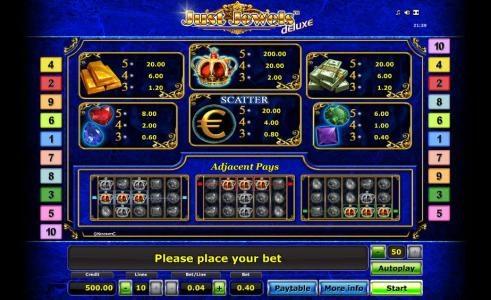 slot symbols paytable