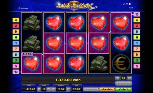 1,330 coin big win jackpot triggered by multiple winning paylines