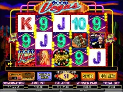 Party Casino featuring the Video Slots Just Vegas with a maximum payout of $20,000