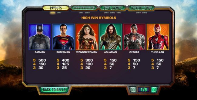 Justice League :: Paytable