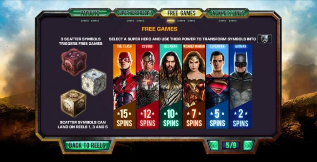 Justice League :: Scatter Symbol and Free Games Rules