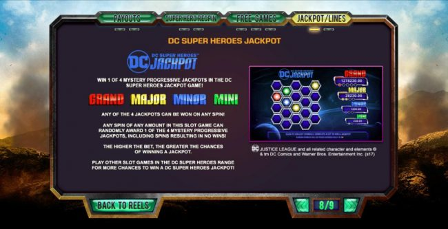 Tropez featuring the Video Slots Justice League with a maximum payout of $25,000