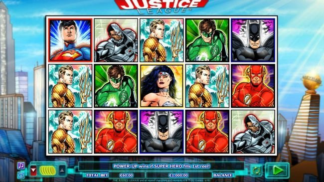 Diamond 7 featuring the Video Slots Justice League with a maximum payout of $600