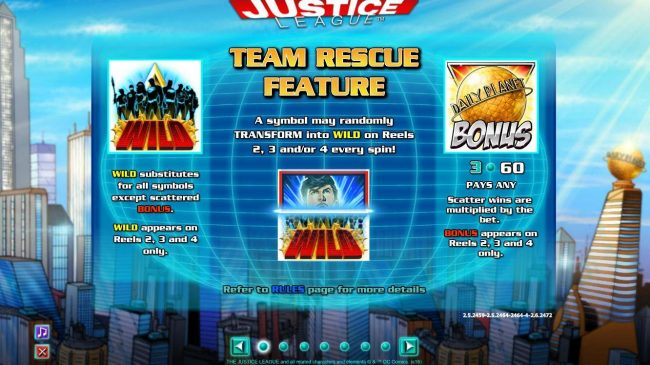 888 Casino featuring the Video Slots Justice League with a maximum payout of $600