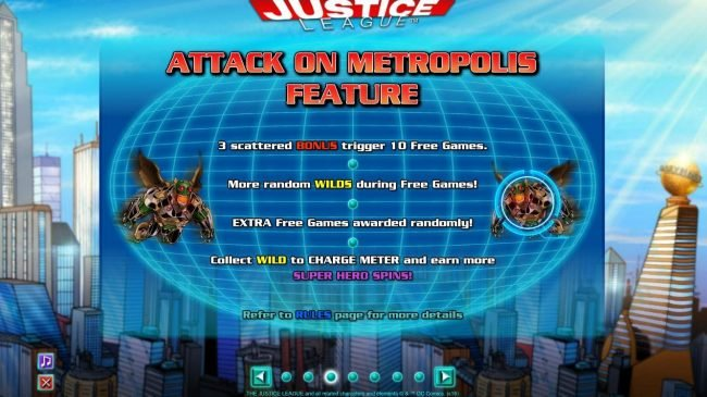 Attack on Metropolis Feature - 3 scattered bonus trigger 10 free games