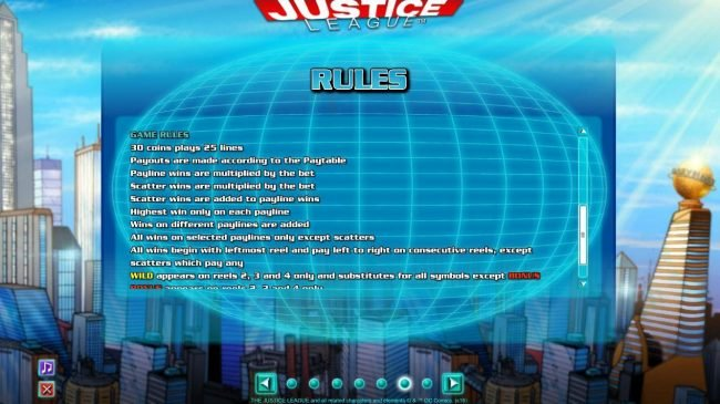 Spintropolis featuring the Video Slots Justice League with a maximum payout of $600