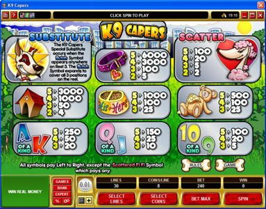 All Irish featuring the Video Slots K9 Capers with a maximum payout of $20,000